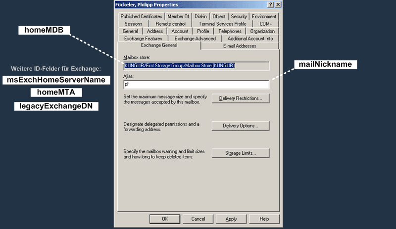 User Attributes : Registerkarte Exchange General